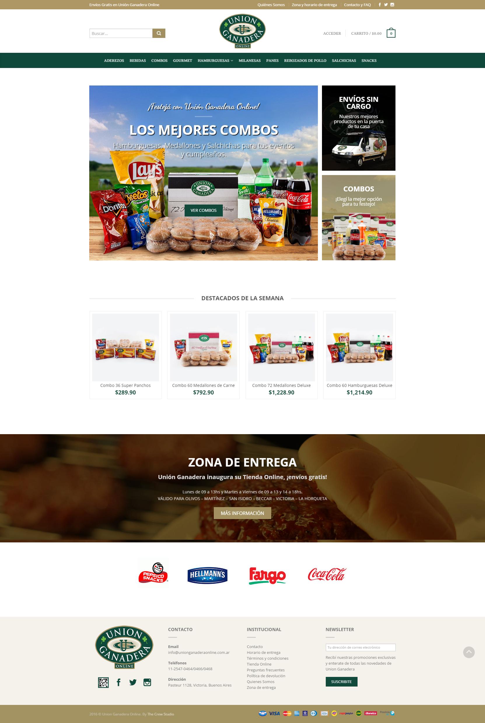 Unión Ganadera Online Venta de hamburguesas panchos y combos